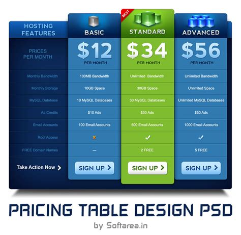 35 Best Pricing Table Psd Templates Free Download Pricing Options Template