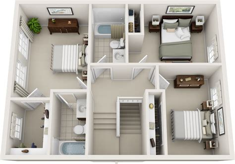 Two Bedroom Two Bath Floor Plans by Three Bedroom Floor Plans Charleston Hall Apartments