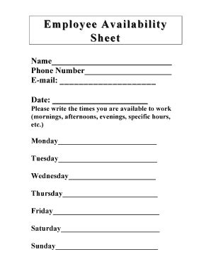 availability sheet for work template employee availability form pdffiller