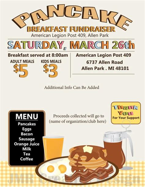 Pancake Breakfast Fundraiser Flyer All You By Jmrcreativedesign Pancake Fundraiser Flyer Template