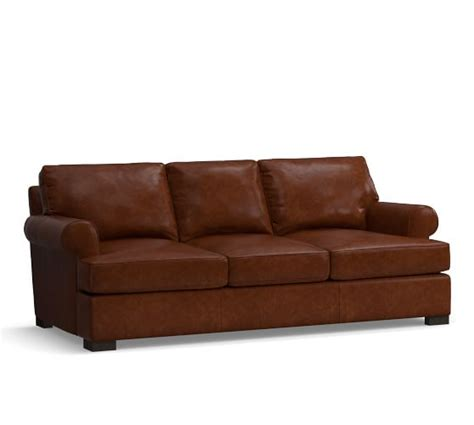 townsend sofa townsend roll arm leather sofa collection pottery barn