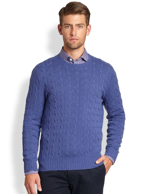 Sweater Polos polo ralph cable knit crewneck sweater in blue for lyst