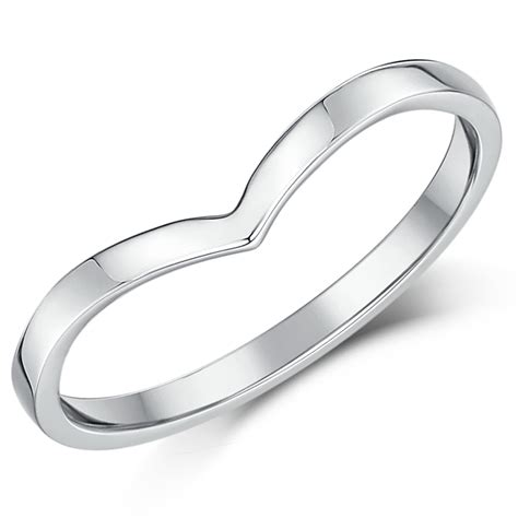 9ct white gold curved wishbone wedding ring band curved