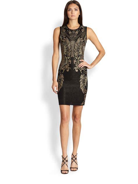 Cavali Dress roberto cavalli intarsia tank dress in black lyst