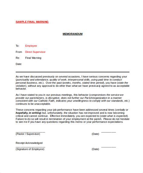 warning letter sle warning notice template 28 images warning notice