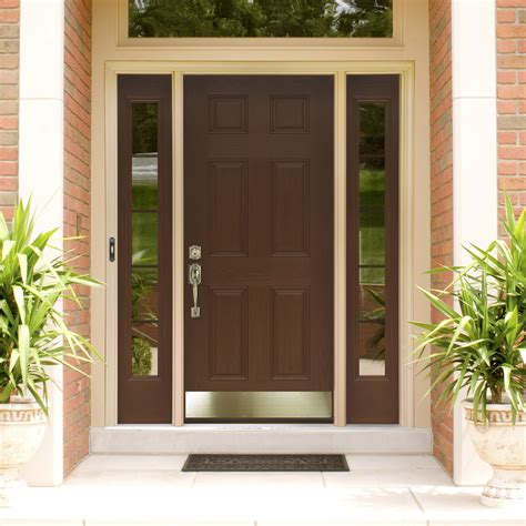 Exterior Entry Doors With Glass Exquisite Brown Mahogany 6 Panels Craftsman Single Modern Front Door With Antique Pull Handles