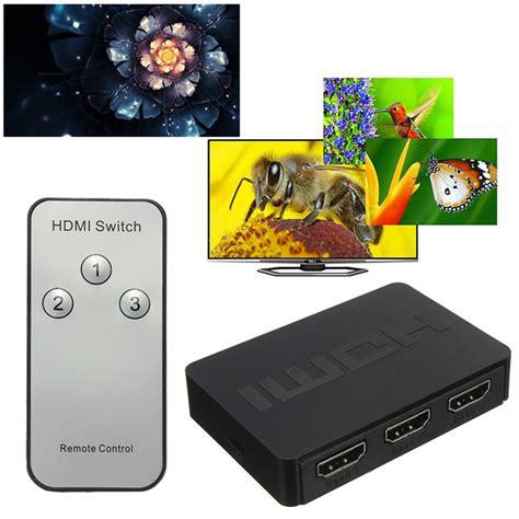 Hdmi Switch 3 Port Hd 1080p With Remote Black Switche 1 3 port 1080p hd hdmi switch switcher hub splitter box