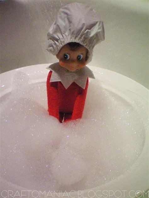 elf on the shelf bathroom elf on the shelf taking a bath shower cap and all