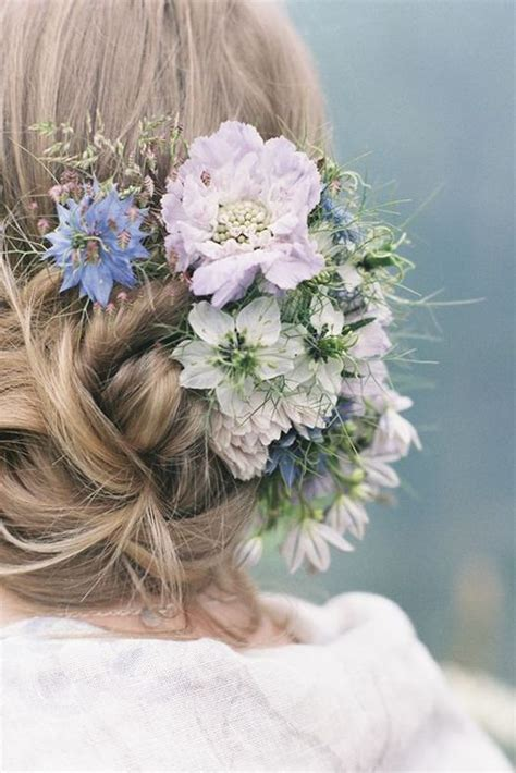 Wedding Updos With Flowers In Hair by Wedding Updo Hairstyles With Blue Flowers
