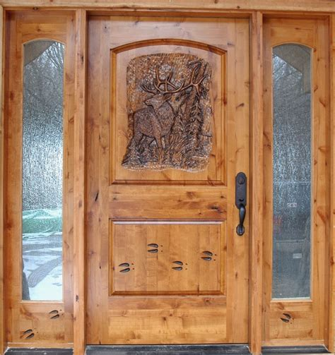 Knotty Alder Exterior Doors Knotty Alder Entrance With Carved Door Front Doors Minneapolis By Woodmax Llc