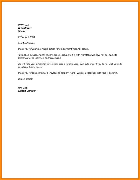 Financial Decline Letter business letters employment rejection letter design