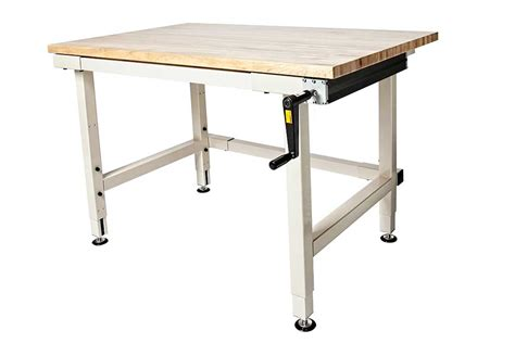height adjustable work bench hand crank adjustable height industrial workbenches