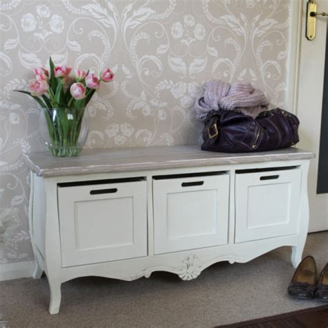 cream painted vintage 3 drawer storage bench shabby