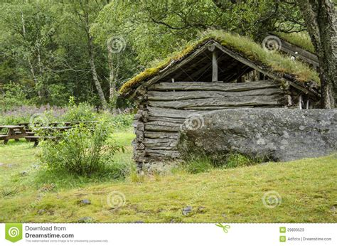 ancient green roofs scandinavian traditional house with green roof stock
