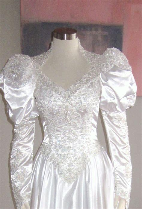 beaded vintage wedding dress vintage white heavily beaded bridal gown vintage by