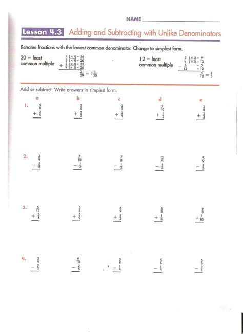 Adding Fractions With Unlike Denominators Worksheets Pdf by Add And Subtract Fractions With Different Denominators