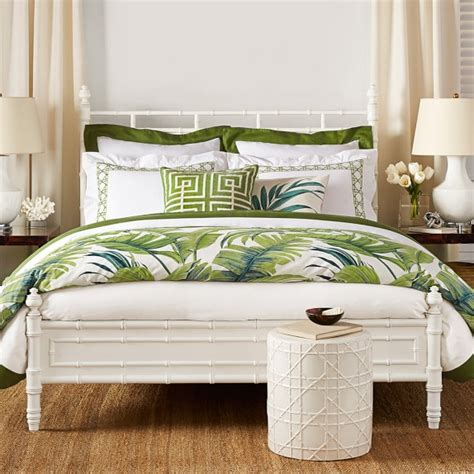 white comforter with green leaves tropical leaf bedding green williams sonoma