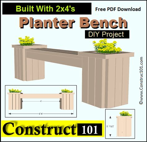 planter bench plans free planter bench plans built with 2x4 s free pdf planter