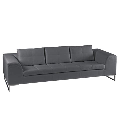 vienna leather three seater sofa grey dwell