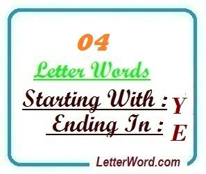 4 Letter Words Starting With Y