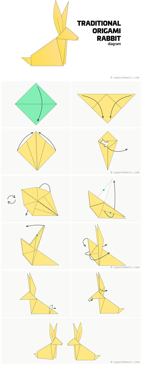 Origami Rabbit Diagram - origami diagrams paper kawaii