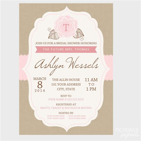 bridal shower invitation pigskins pigtails