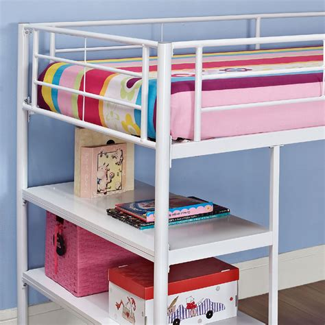 Walker Edison Metal Twin Low Loft Bed With Desk And White Metal Loft Bed With Desk