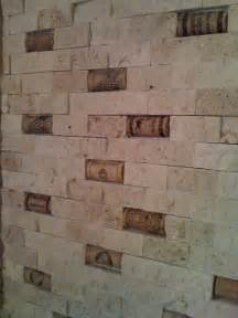 cork backsplash tiles cork and split travertine backsplash