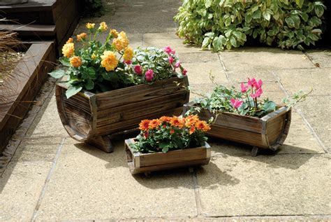 Outdoor Planters by Weatherproof 3 Trough Wooden Garden Planters Set Of 3