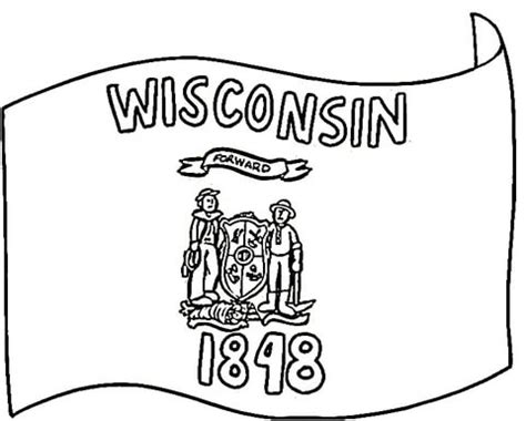 wisconsin flag of 1848 coloring page supercoloring com