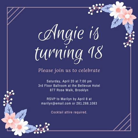 18th birthday card invitation templates customize 1 023 18th birthday invitation templates
