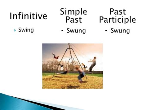 past participle of swing irregular verbs