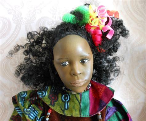 black doll artists fanciful black porcelain one of a artist doll joan