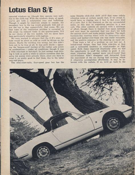 top gear lotus elan sport car graphic sep 67 road test lotus elan se