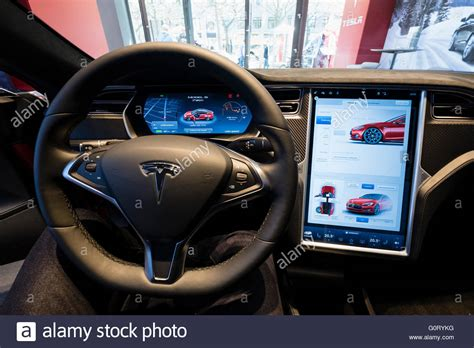 tesla inside digital dashboard on model s car inside tesla electric car