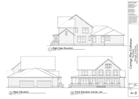 side elevation craftsman front rear and right side elevations newbury