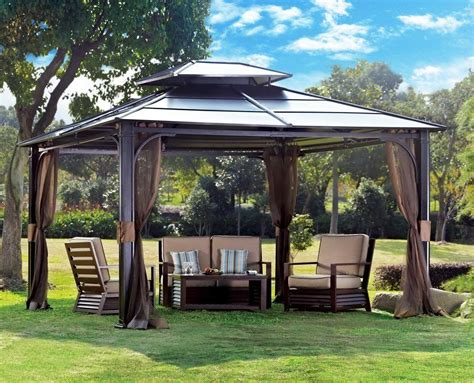 12x10 awning 10 x 12 hardtop metal steel roof outdoor patio gazebo w