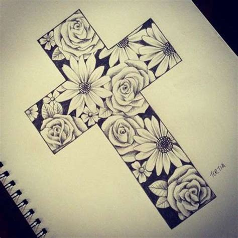 floral cross tattoo cross and flower idea shortlist