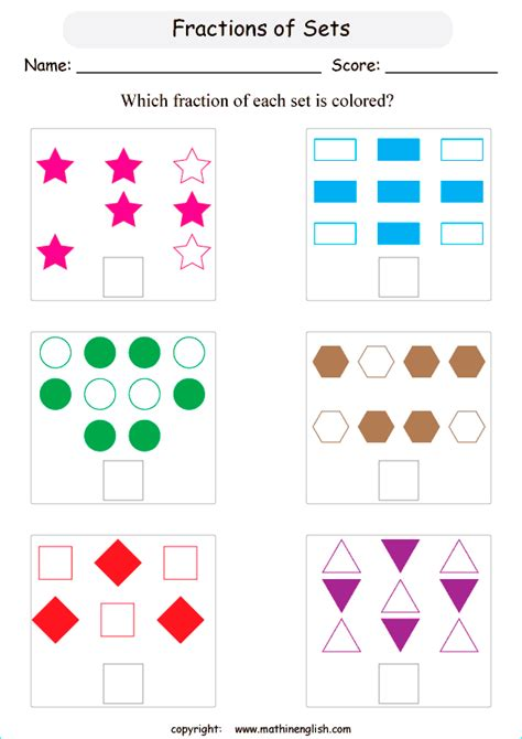 Fractions Of A Set Worksheets by What Is The Colored Fraction In Each Set Of Objects And