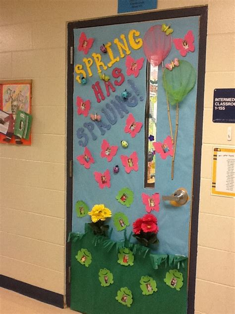 door decorations for spring classroom door spring has sprung school ideas
