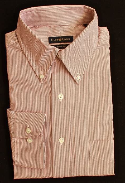 club room mens dress shirt burgundy hairline stripe new ebay