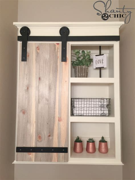 Open Shelving Kitchen Cabinets by Diy Sliding Barn Door Bathroom Cabinet Shanty 2 Chic