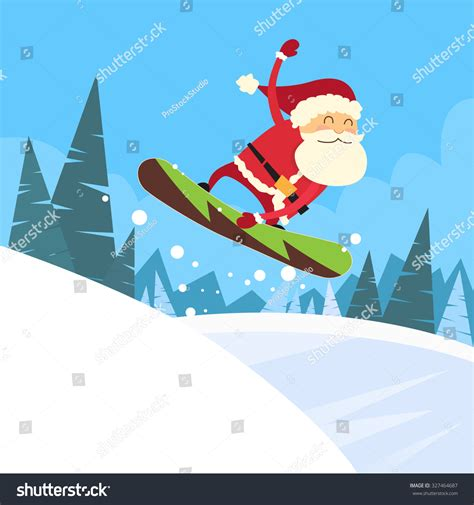 santa clause snowboarder sliding  hill merry christmas banner snowboarding snow mountains
