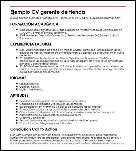 Ejemplo Curriculum Gerente De Recursos Humanos Ejemplo Cv Gerente De Tienda Micvideal