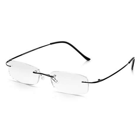buy read optics mens black memory flex rimless rectangle