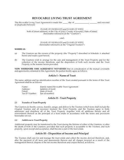 Usa Revocable Living Trust Agreement With Change Of Jurisdiction Clause Legal Forms And Living Agreement Contract Template