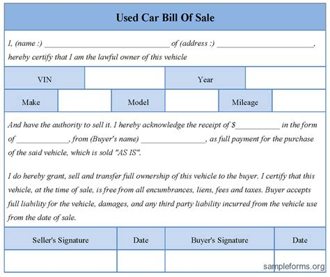 Free Printable Free Car Bill Of Sale Template Form Generic Free Bill Of Sales Template For Used Car As Is