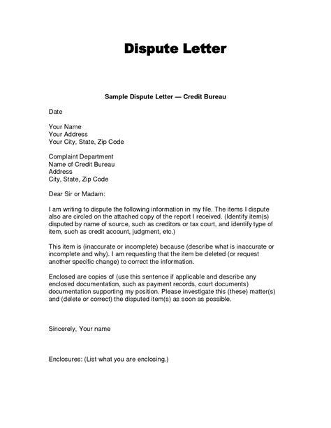 dispute letter credit bureau template printable