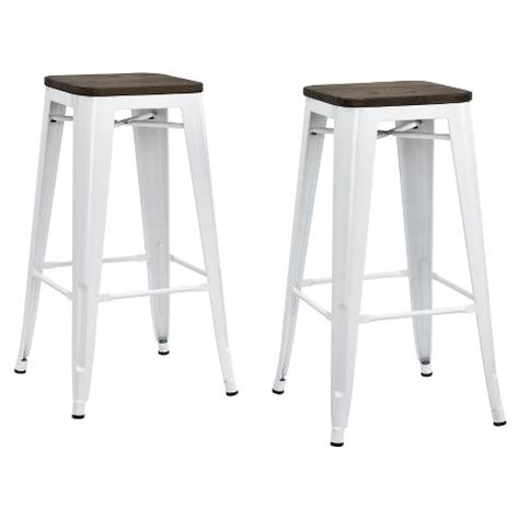 Set Of 3 Backless Bar Stools by Fusion 30 Quot Metal Backless Bar Stool With Wood Seat Set Of
