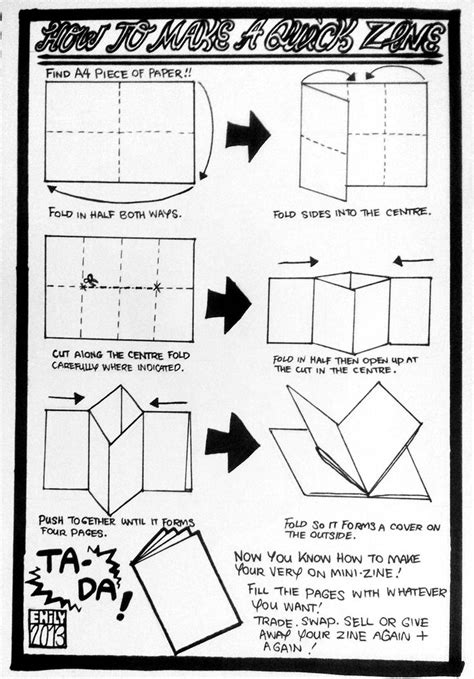 How To Make A 10 Page Book Out Of Paper - flipe munyuck how to make a zine 1 using an a4